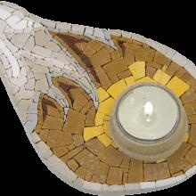 mosaico portacandela a goccia grigio