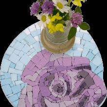 mosaico portavaso fiore viola