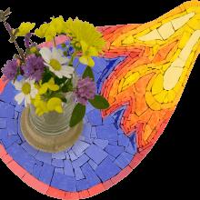 mosaico porta vaso arancione
