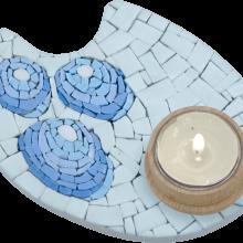 mosaico porta candela blu