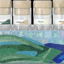 mosaico porta spezie azzurro